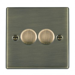 Hamilton Hartland Antique Brass Push On/Off Dimmer 2 Gang 2 way Inductive 200VA with Antique Brass Insert