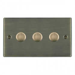 Hamilton Hartland Antique Brass Push On/Off Dimmer 3 Gang 2 way 400W with Antique Brass Insert