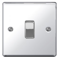 BG Nexus Flatplate Polished Chrome 10A 1 Gang 2 Way Switch
