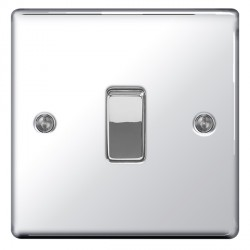 BG Nexus Flatplate Polished Chrome 10A 1 Gang Intermediate Switch