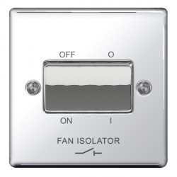 BG Nexus Flatplate Polished Chrome 10A 1 Gang Triple Pole Fan Isolator Switch