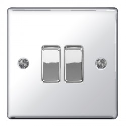 BG Nexus Flatplate Polished Chrome 10A 2 Gang 2 Way Switch