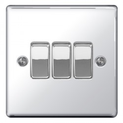 BG Nexus Flatplate Polished Chrome 10A 3 Gang 2 Way Switch