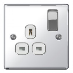 BG Nexus Flatplate Polished Chrome 13A 1 Gang Double Pole Switched Socket with White Insert