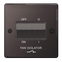 BG Nexus Flatplate Black Nickel 10A 1 Gang Triple Pole Fan Isolator Switch