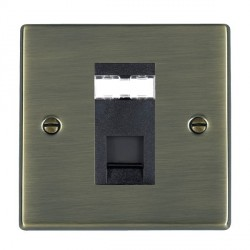 Hamilton Hartland Antique Brass 1 Gang RJ12 Outlet Unshielded with Black Insert