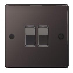 BG Nexus Flatplate Black Nickel 10A 2 Gang 2 Way Switch