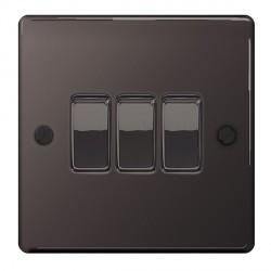 BG Nexus Flatplate Black Nickel 10A 3 Gang 2 Way Switch