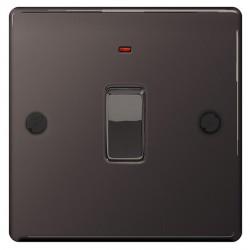 BG Nexus Flatplate Black Nickel 20A 1 Gang Double Pole Switch with Neon