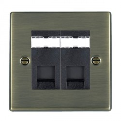 Hamilton Hartland Antique Brass 2 Gang RJ45 Outlet Cat 5e Unshielded with Black Insert