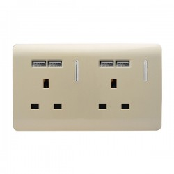 Trendi Gold 2 Gang 13A Short Switched Socket with 4 USB Outlets