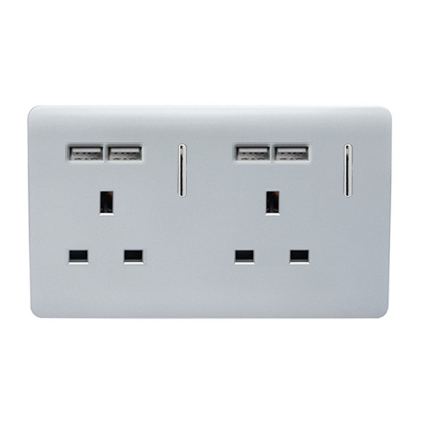 Trendi Silver 2 Gang 13a Short Switched Socket With 4 Usb