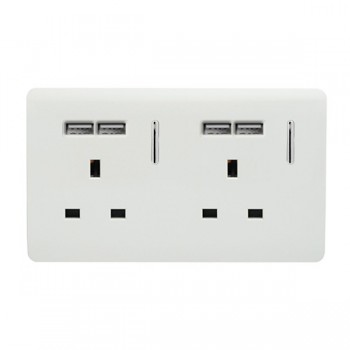 Trendi White 2 Gang 13A Short Switched Socket with 4 USB Outlets