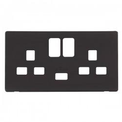 Click Definity Screwless Black 2 Gang USB Socket Cover Plate