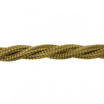 1m Length of Wood Brown Braided Cable