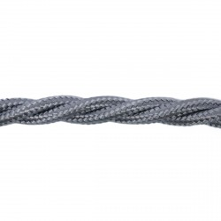 1m Length of Silver Braided Cable
