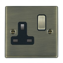 Hamilton Hartland Antique Brass 1 Gang 13A Switched Socket - Double Pole with Black Insert