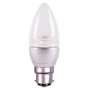 Bell Lighting 4W Warm White Non-Dimmable B22 Clear LED Candle Bulb with Silver Base