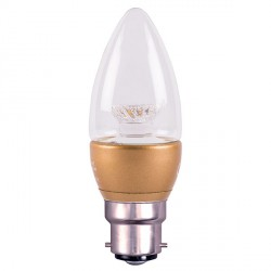 Bell Lighting 4W Warm White Non-Dimmable B22 Clear LED Candle Bulb with Brass Base