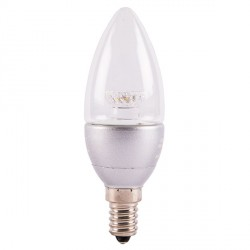 Bell Lighting 4W Warm White Non-Dimmable E14 Clear LED Candle Bulb with Silver Base
