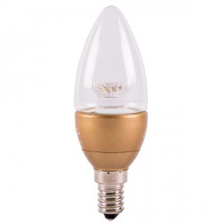Bell Lighting 4W Warm White Non-Dimmable E14 Clear LED Candle Bulb with Brass Base