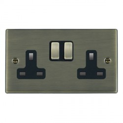 Hamilton Hartland Antique Brass 2 Gang 13A Switched Socket Double Pole with Black Insert
