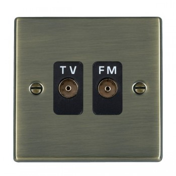 Hamilton Hartland Antique Brass 2 Gang Isolated Television/FM 1in/2out with Black Insert