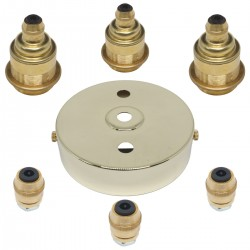 S. Lilley & Son 100mm Three Light Polished Brass Pendant Kit