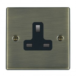 Hamilton Hartland Antique Brass 1 Gang 13A Unswitched Socket with Black Insert