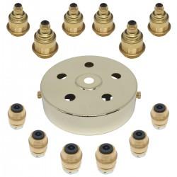 S. Lilley & Son 100mm Six Light Polished Brass Pendant Kit
