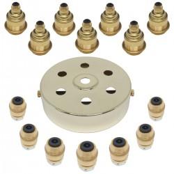 S. Lilley & Son 100mm Seven Light Polished Brass Pendant Kit