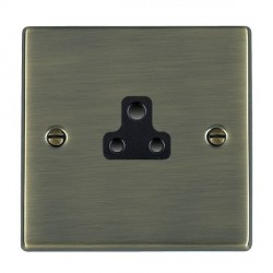 Hamilton Hartland Antique Brass 1 Gang 2A Unswitched Socket with Black Insert