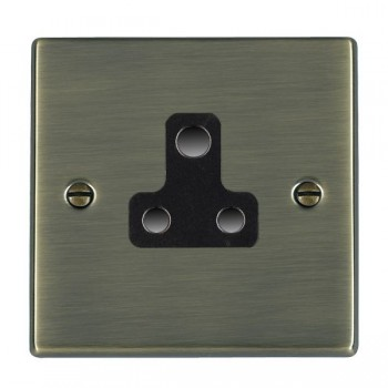 Hamilton Hartland Antique Brass 1 Gang 5A Unswitched Socket with Black Insert