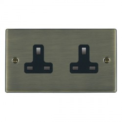 Hamilton Hartland Antique Brass 2 Gang 13A Unswitched Socket with Black Insert