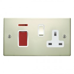 Hamilton Hartland Pearl Oyster 1 Gang Double Pole 45A Red Rocker + 13A Switched Socket with White Insert