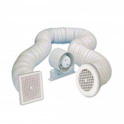 Manrose Energy Saving 100mm In-line Shower Extractor Fan Kit with Timer