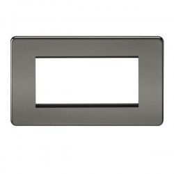 Knightsbridge Screwless Black Nickel 4 Gang Modular Faceplate