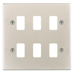 Hamilton Hartland Grid Pearl Oyster 6 Gang Grid Fix Aperture Plate with Grid