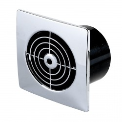 Manrose Lo Profile 100mm Square Chrome Extractor Fan with Timer