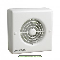 Manrose 150mm Automatic Shutter Window Extractor Fan with Humidity Control and Pullcord Switch