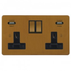 Focus SB Ambassador 2 Gang 13A Switched USB Wall Socket in Bronze Antique with Black Insert
