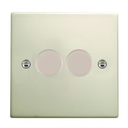 Hamilton Hartland Pearl Oyster Push On/Off Dimmer 2 Gang 2 way 400W with Pearl Oyster Insert
