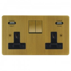 Focus SB Horizon 2 Gang 13A Switched USB Wall Socket in Antique Brass with Black Insert
