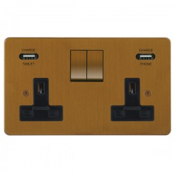 Focus SB Horizon 2 Gang 13A Switched USB Wall Socket in Bronze Antique with Black Insert