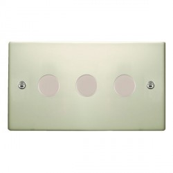 Hamilton Hartland Pearl Oyster Push On/Off Dimmer 3 Gang 2 way 400W with Pearl Oyster Insert