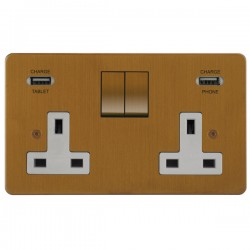 Focus SB Horizon 2 Gang 13A Switched USB Wall Socket in Bronze Antique with White Insert