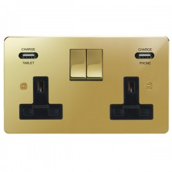 Focus SB Horizon 2 Gang 13A Switched USB Wall Socket in Polished Brass with Black Insert