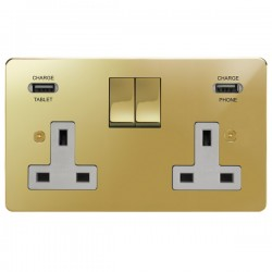 Focus SB Horizon 2 Gang 13A Switched USB Wall Socket in Polished Brass with White Insert