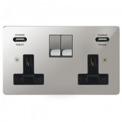Focus SB Horizon 2 Gang 13A Switched USB Wall Socket in Polished Chrome with Black Insert