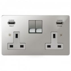 Focus SB Horizon 2 Gang 13A Switched USB Wall Socket in Polished Chrome with White Insert